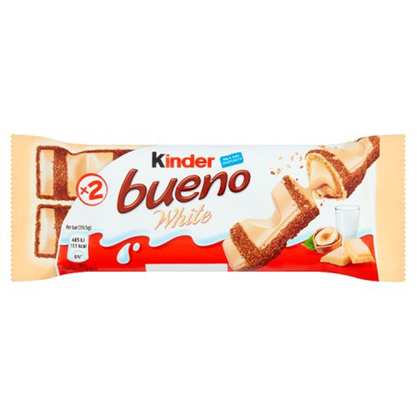 Kinder Bueno White Chocolate Bar - 43g bar - Pack of 30