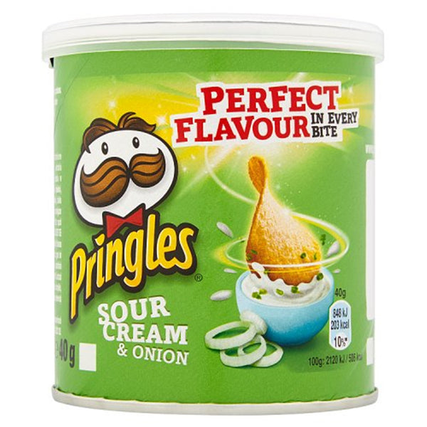 Pringles Sour Cream & Onion Flavour Crisps - 40g tube - Pack of 12