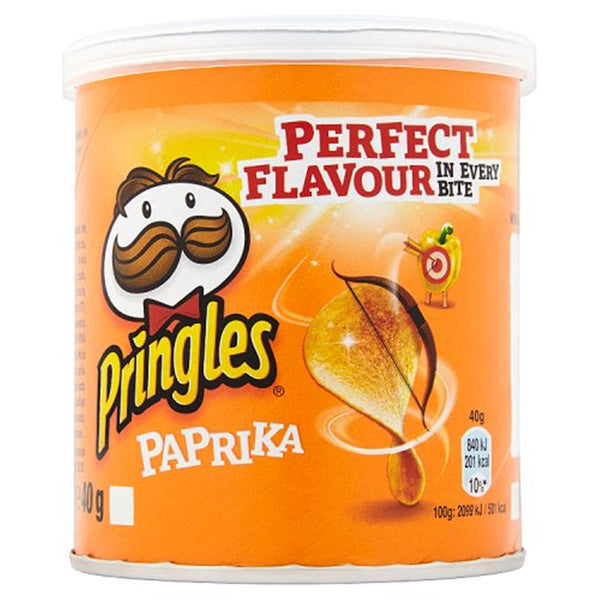 Pringles Paprika Flavour Crisps - 40g tube - Pack of 12