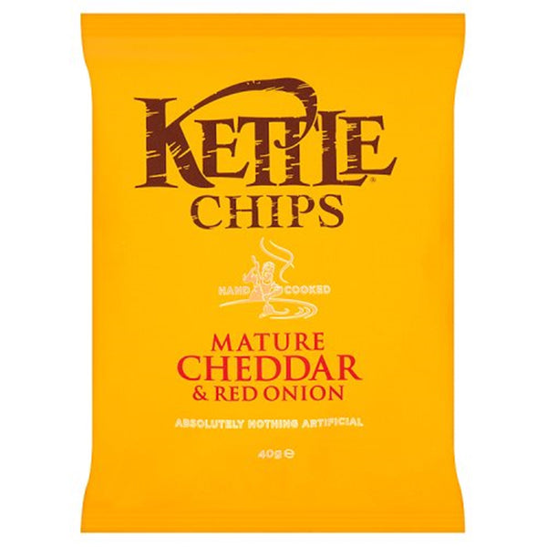 Kettle Chips Mature Cheddar & Red Onion Crisps - 40g bag - Pack of 18