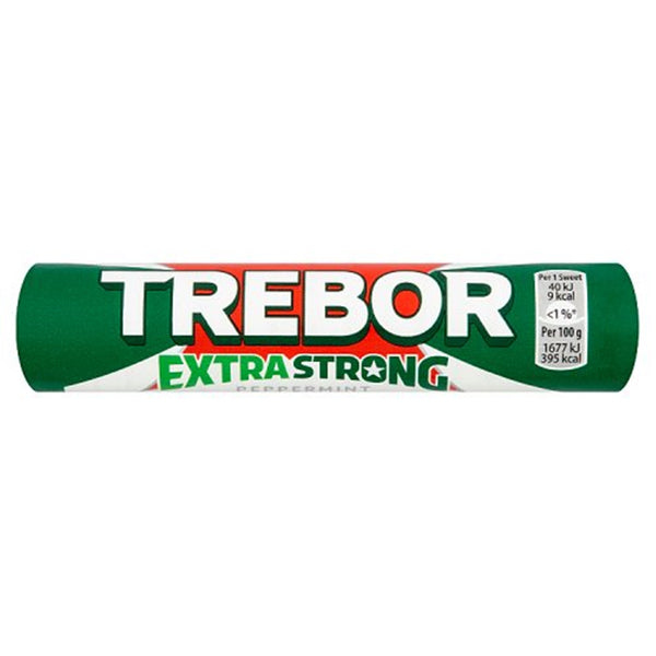 Trebor Extra Strong Peppermint Mints Roll - 41.3g roll - Pack of 40
