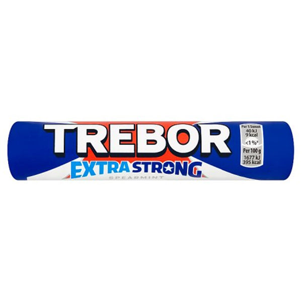 Trebor Extra Strong Spearmint Mints Roll - 41.3g roll - Pack of 40