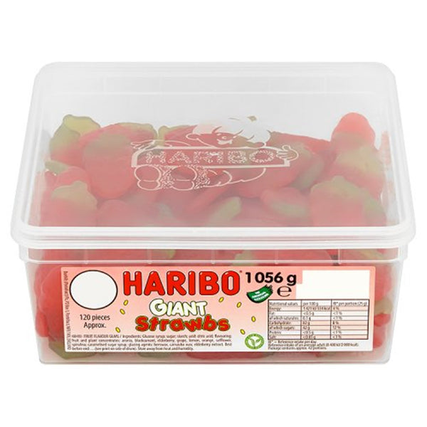 HARIBO Giant Strawbs - 1056g tub - Pack of 120 loose sweets