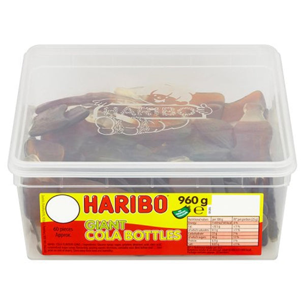 HARIBO Giant Cola Bottles - 960g tub - Pack of 60 loose sweets