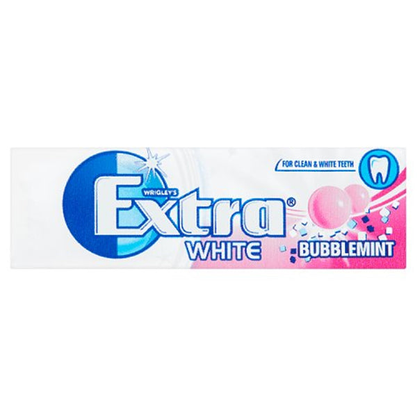 Wrigleys Extra White Bubblemint Chewing Gum - 7 piece pocket pack - Pack of 30