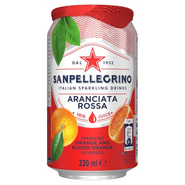 San Pellegrino Aranciata Rosso / Orange & Blood Orange Sparkling Drink - 330ml Can - Pack of 24