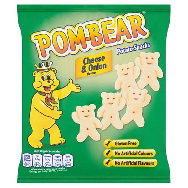 Pom Bear Cheese & Onion Crisps - 19g bag - Pack of 36