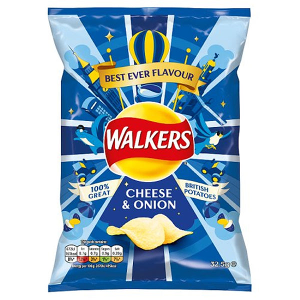 Walkers Cheese & Onion Crisps - 32.5g bag - Pack of 32