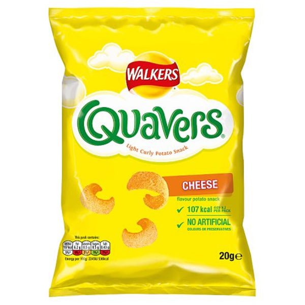 Walkers Quavers Cheese Flavour - 20g bag - Pack of 32