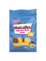 Metcalfes Popcorn Thins Minis Milk Chocolate - 50g bag - Pack of 6