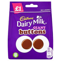 Cadbury Dairy Milk Giant Chocolate Buttons Bag - 95g bag - Pack of 10