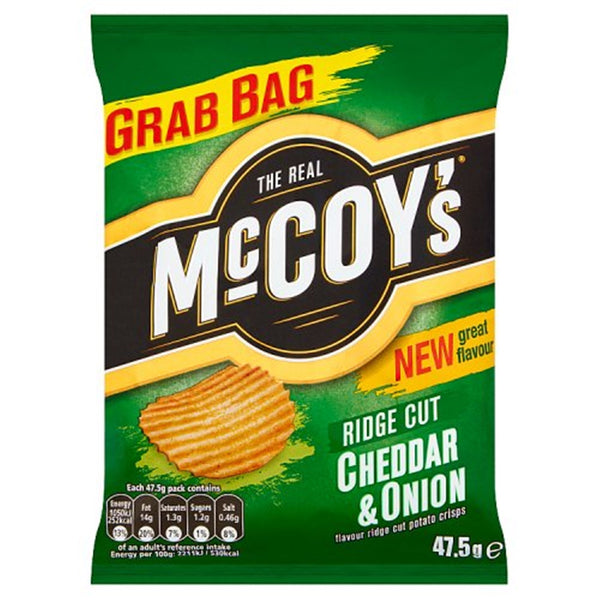 McCoys Ridge Cut Cheddar & Onion Crisps - 47.5g bag - Pack of 26