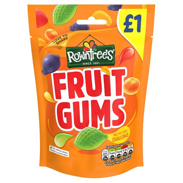 Rowntrees Fruit Gums Pouch - 120g Sharing Bag - Pack of 10