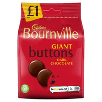 Cadbury Bournville Classic Dark Chocolate Giant Buttons Bag - 95g bag - Pack of 10