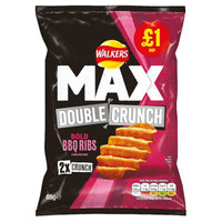 Walkers Max Double Crunch Bold BBQ Rib Flavour Crisps - 65g bag - Pack of 15