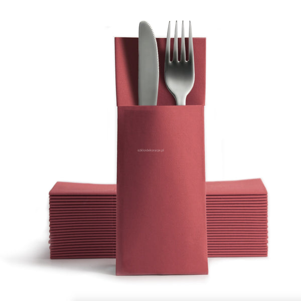 Duniletto Slim Napkins with Cutlery Pocket - Bordeaux - 40 x 33cm - Pack of 65
