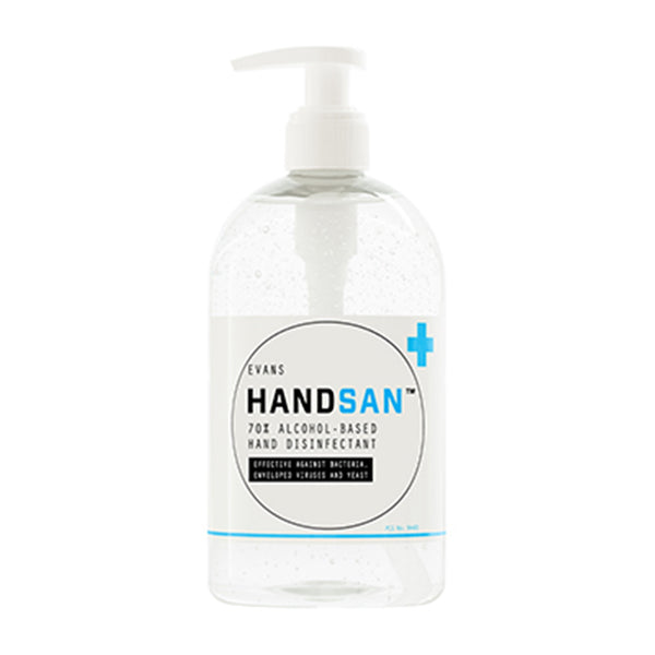 Evans Handsan - 70% Alcohol Hand Sanitiser - 500ml Bottle