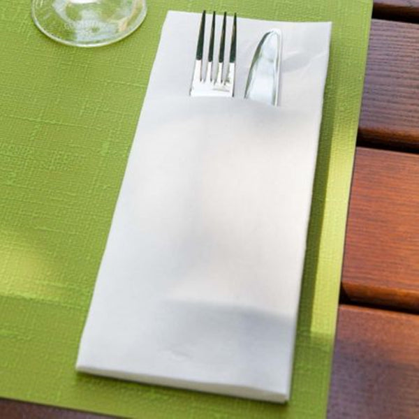 Duniletto Slim Napkins with Cutlery Pocket - White - 40 x 33cm - Pack of 65