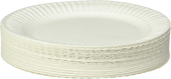Poppies Disposable Paper Plates - White - 9 inch / 22.5cm - Recyclable - Pack of 100
