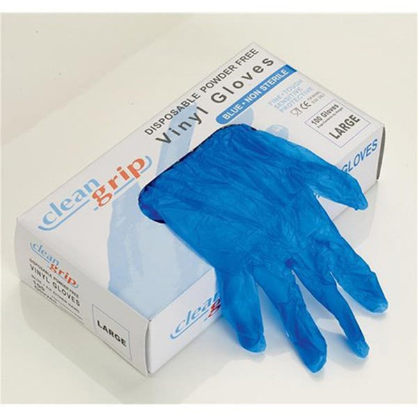 Clean Grip Blue Vinyl Powder Free Disposable Gloves - Large - Box of 100