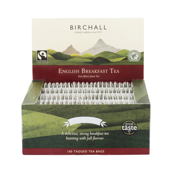 Birchall Fairtrade English Breakfast Tea - 100 Tagged tea bags