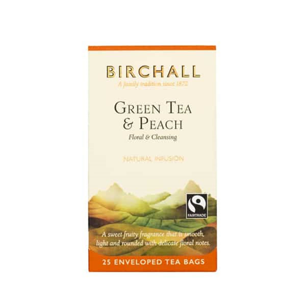 Birchall Green Tea & Peach Tea - 25 Enveloped Tea Bags