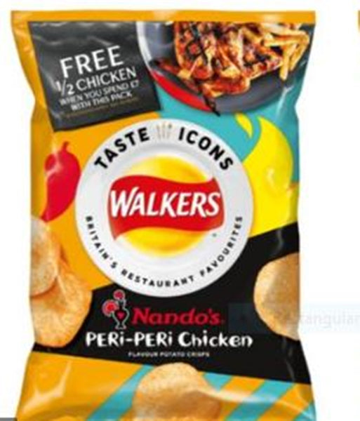 Walkers Taste Icons Nandos Peri Peri Chicken Crisps - 32.5g bag - Pack of 24