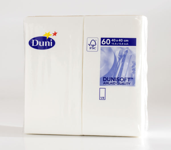Dunisoft Napkins - White - 40 x 40cm with 1/8 Fold - Pack of 60
