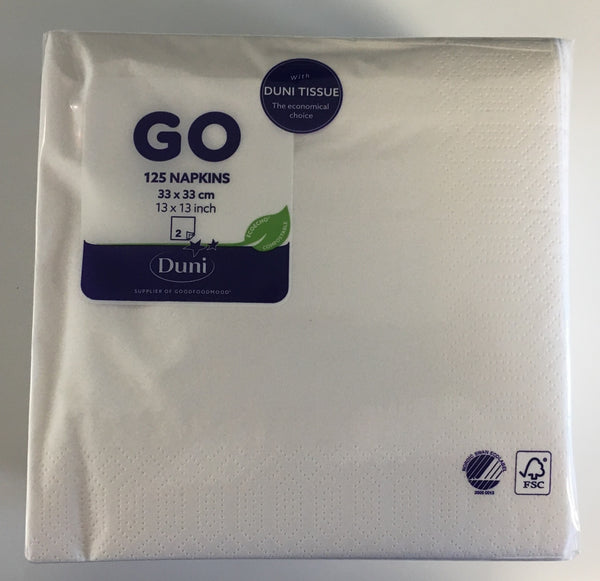 Duni Go 2 Ply Napkins - 33 x 33cm - Pack of 125 x White Napkins