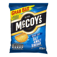 McCoys Ridge Cut Salt & Malt Vinegar Crisps - 47.5g bag - Pack of 26