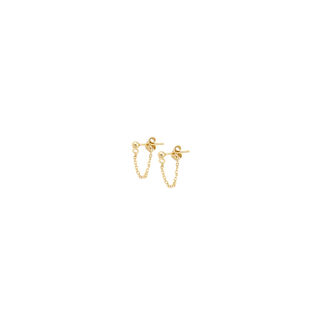 Sphere and Chain Gold fill Stud Earrings