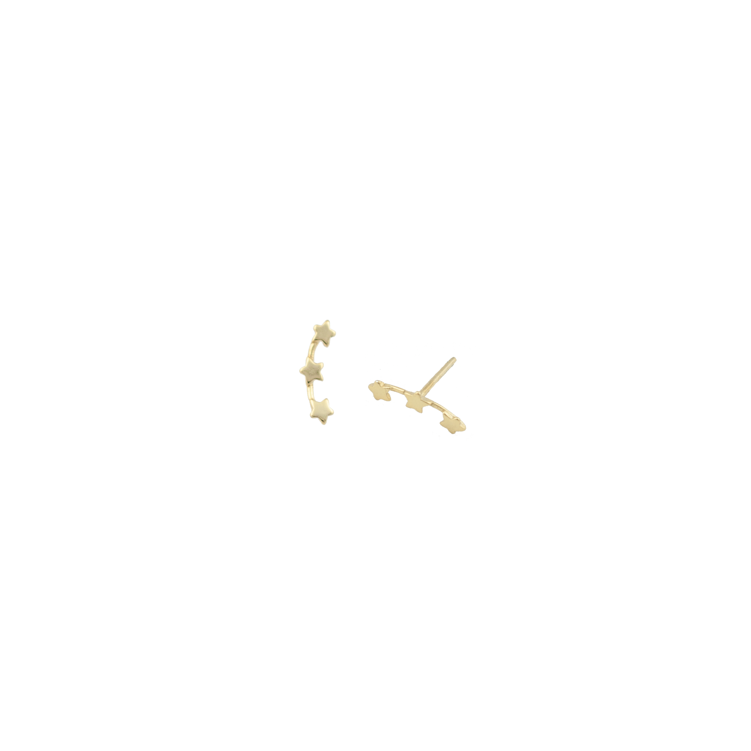 Three stars gold fill stud Climber earrings