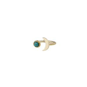 Moon shaped ring with brass and natural turquoise gemstone