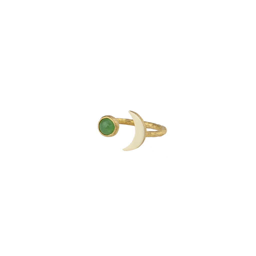 Moon shaped ring with brass and natural aventurine gemstone