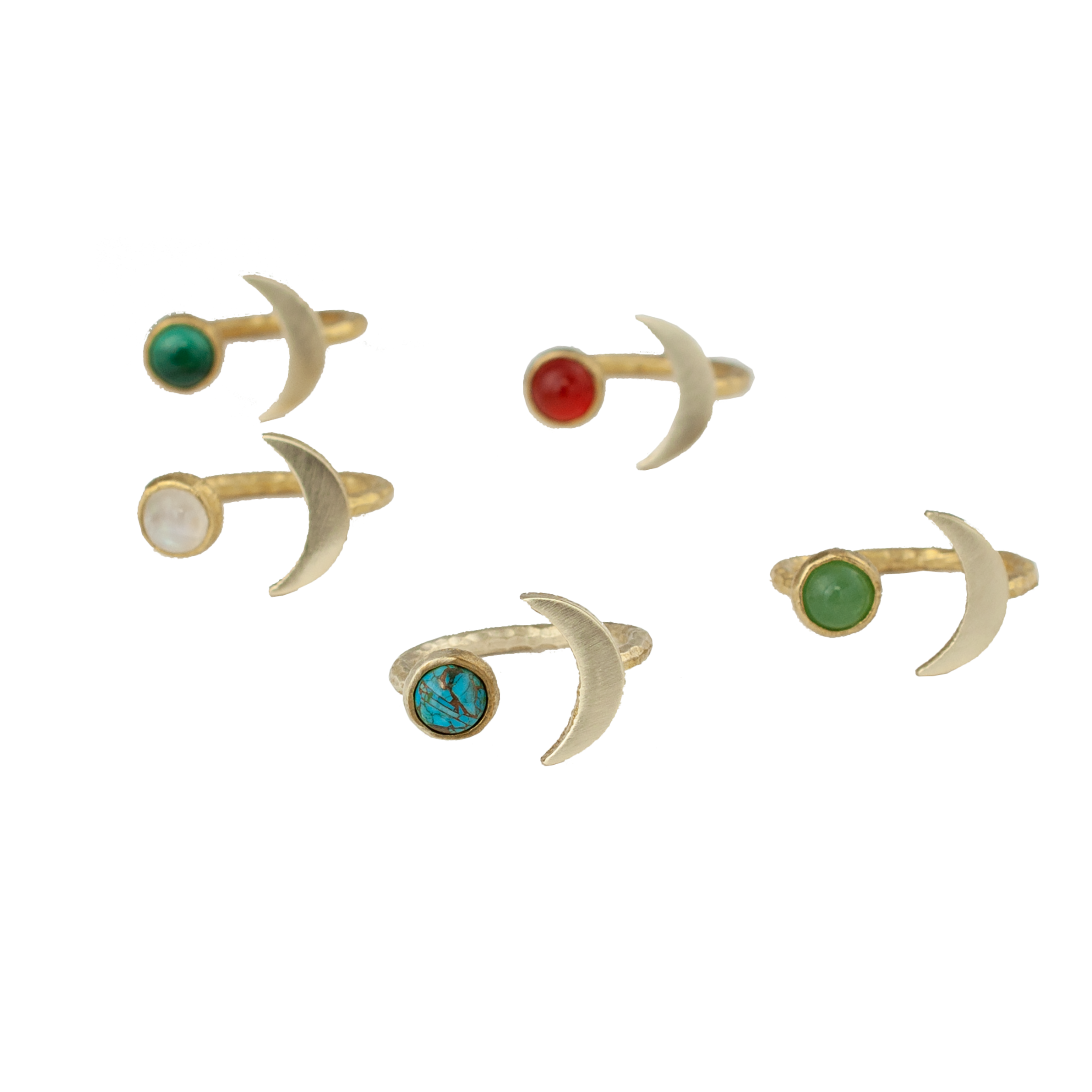 Moon shaped rings with brass and natural gemstones