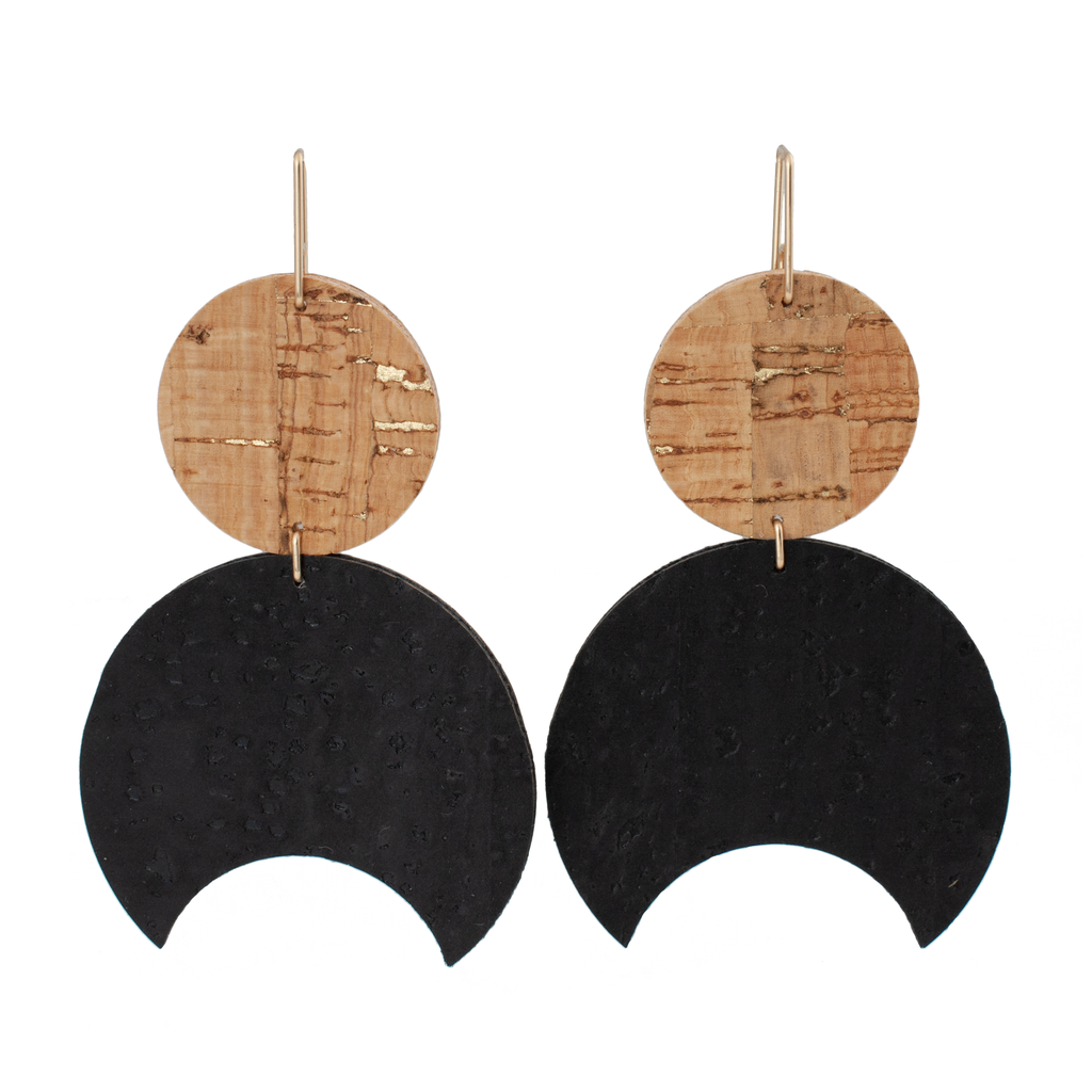 handmade half moon shaped cork earring