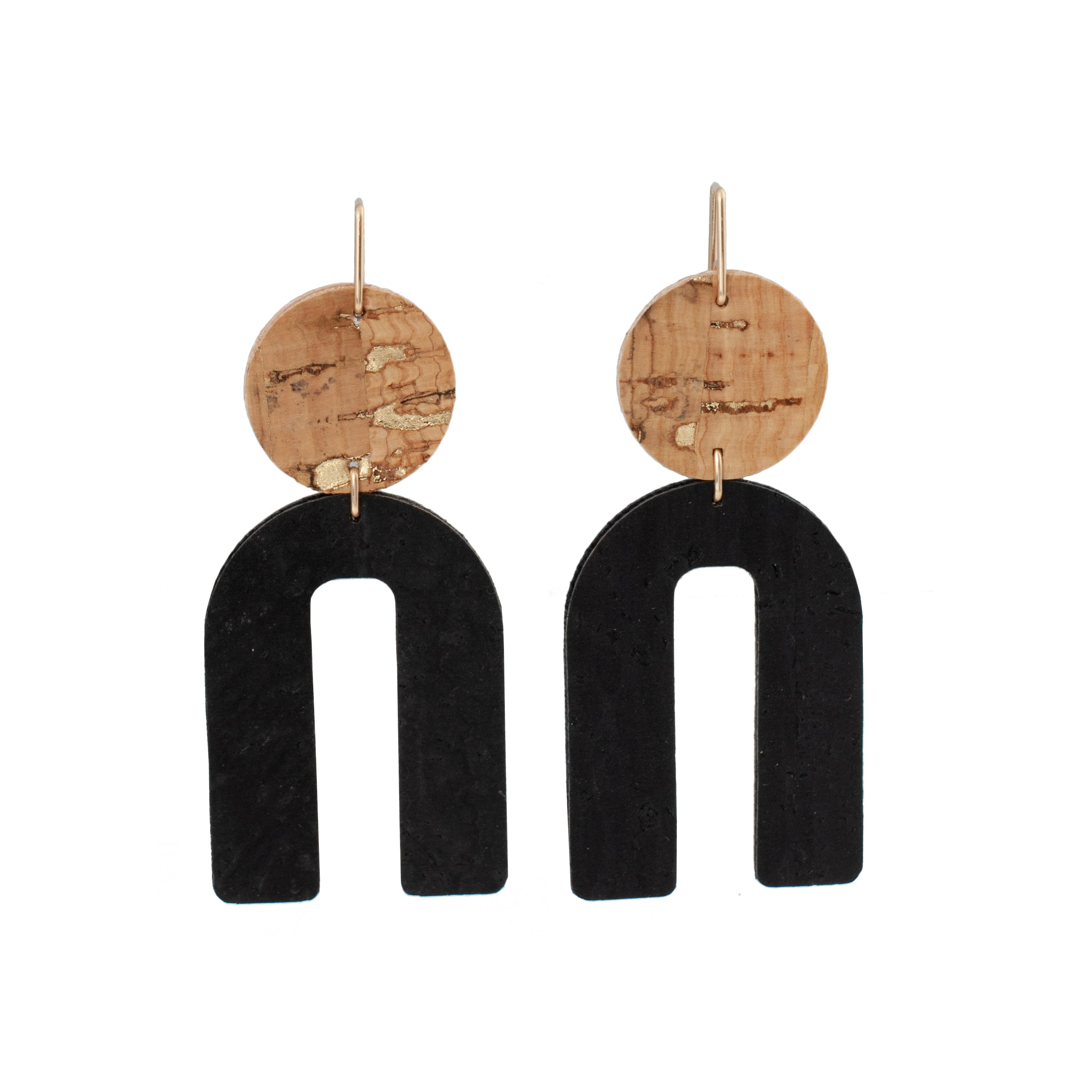 handmade Circle earring from cork leather