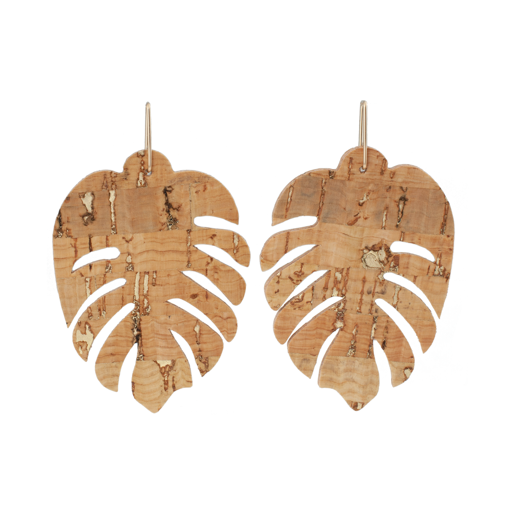 handmade Monstera  leaf shaped Cork Earrings