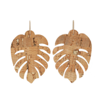 Load image into Gallery viewer, handmade Monstera  leaf shaped Cork Earrings