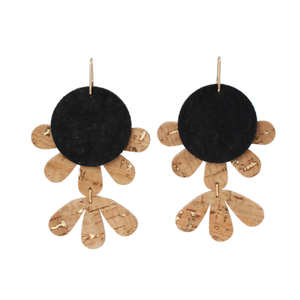 handmade flower shaped earring from cork leather