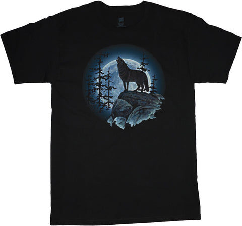 Lone wolf howling at the moon t-shirt