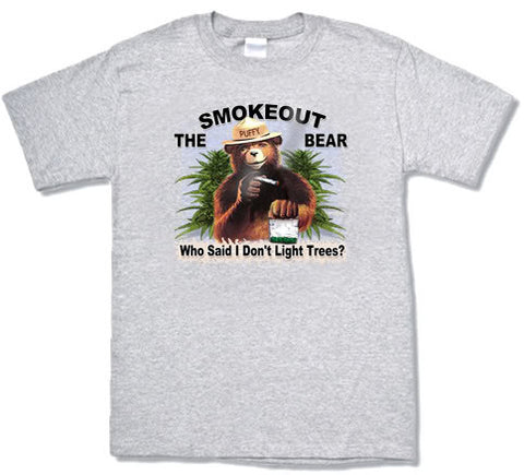 Smokeout the bear funny 420 design mens T-shirt