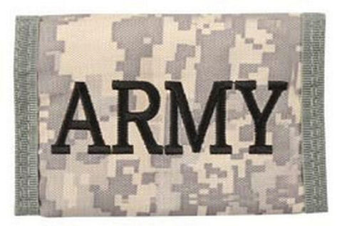 Army Wallet embroidered design velcro closure tri-fold wallet