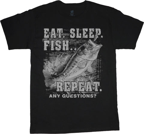 Big and Tall T-shirt Eat Sleep Fish Repeat Funny Fishing Tshirt