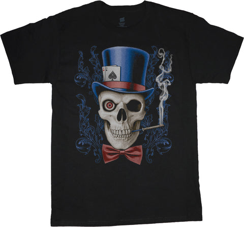 Big and Tall T-shirt Skull in Top Hat Design Tee