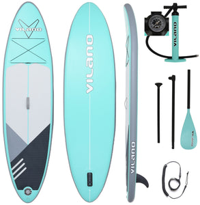 PathFinder Inflatable SUP Stand Up Paddle Board from Vilano, Complete KIT: Board, Fin, Pump, Paddle
