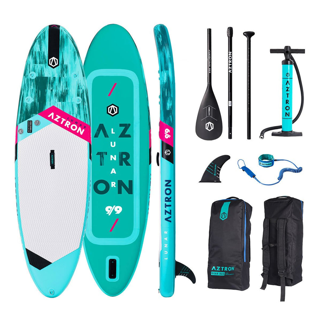 Aztron LUNAR Double Air Chamber Inflatable Stand Up Paddle SUP Board with Adjustable Paddle, Bag, Pump, and Leash