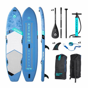 "Aztron NEBULA 2 person Inflatable SUP Board 12'10"" Double Layer incl. 2 Adjustable Aluminum Paddle and 2 Leash"