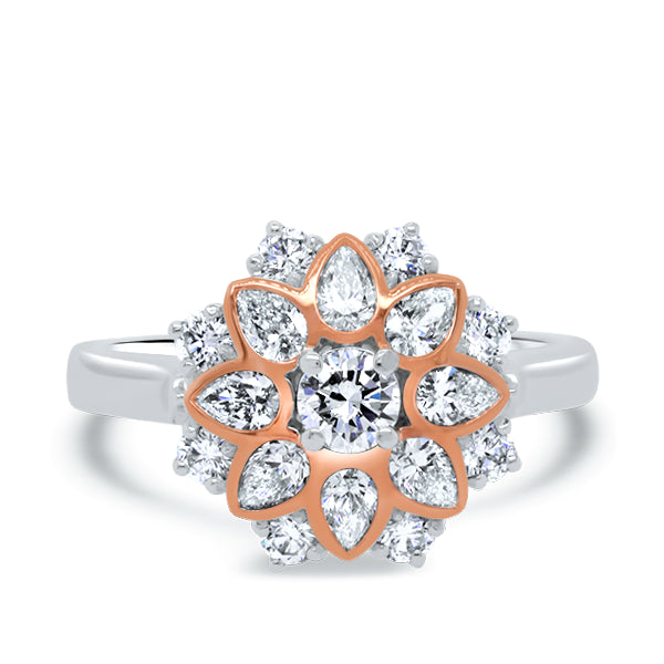 18ct Floral Pear-Shape & Round Diamond Ring