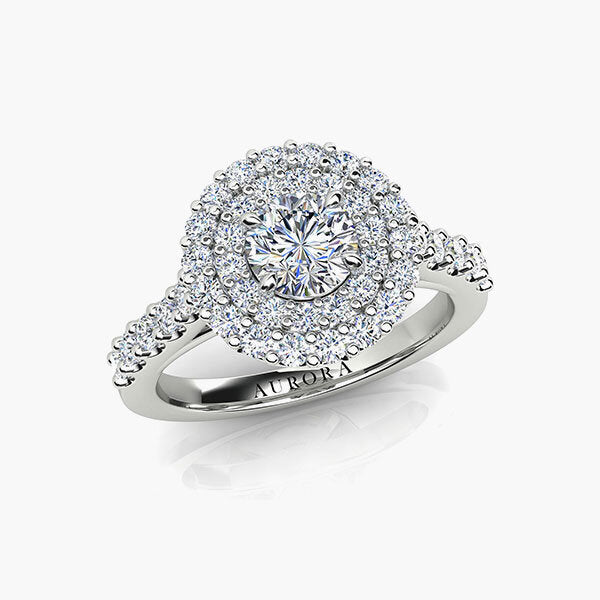 18ct 0.75ct Aurora®-Cut Diamond Double Halo Ring